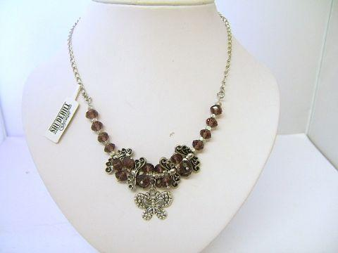 Ladies Trevi Butterfly Cluster Bead Necklace Purple