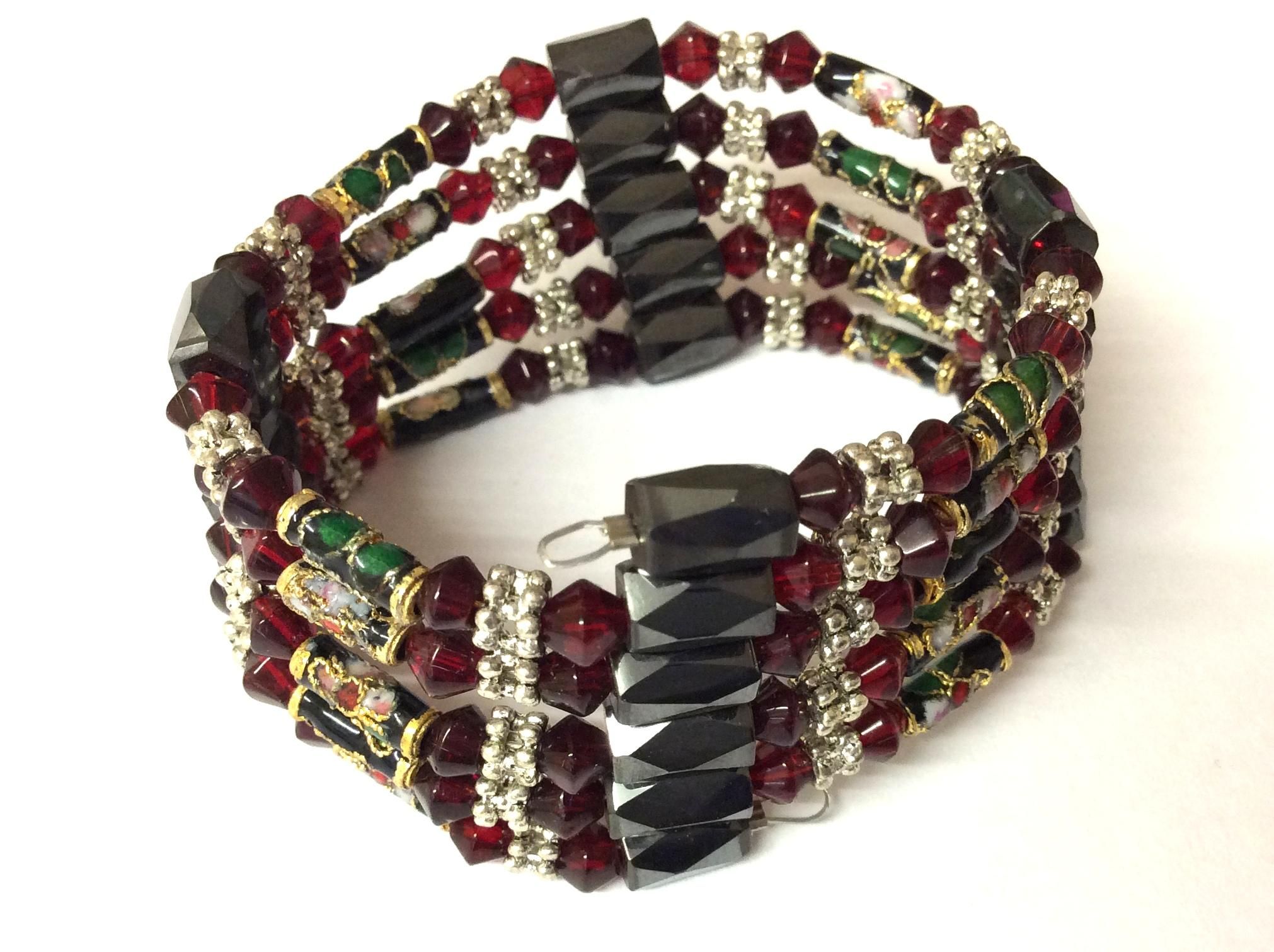 Magnetic Hematite Wrap Around Bracelet Dark Red