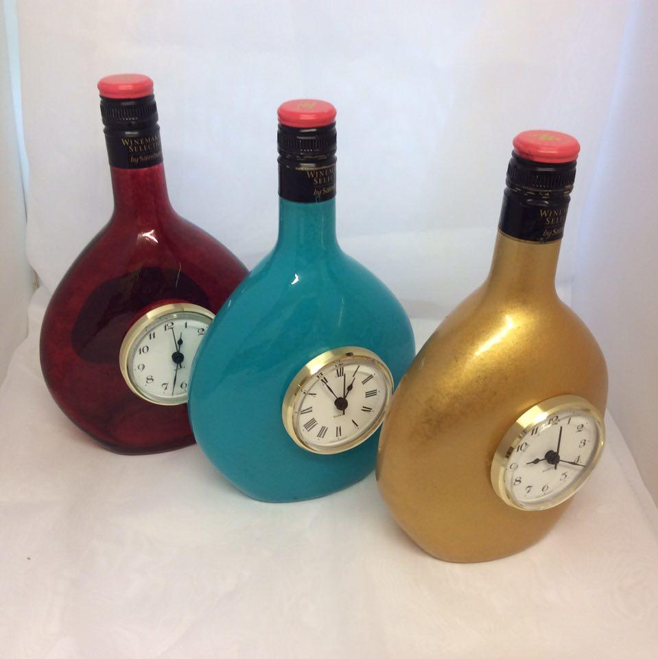 Decorated  Wine Bottle Clock