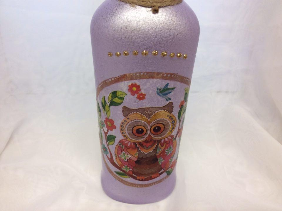 Decorated Wine Bottle Owl and Glitter