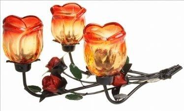 Candle Holder Romantic Metal Triple Rose Laying