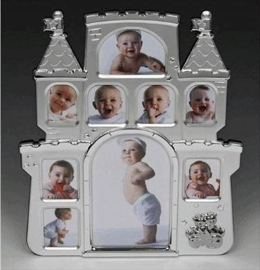 Satin Silver Castle Design Baby Photo Frame