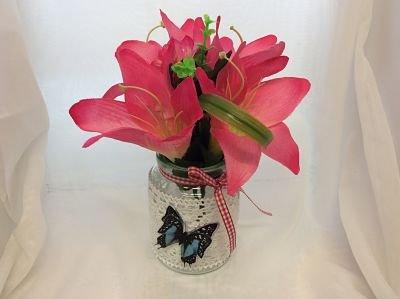 Floral Decorated Jars with Lace and Butterflies