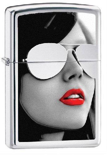 Zippo Lighter Beautiful Girl with Red Lipstick and Sunglasses