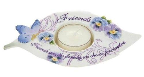 Tealight Candle Holder Pretty Pansy Friends Leaf Design