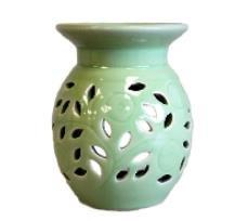 Oil Burner Ceramic Glazed Floral Pattern Green