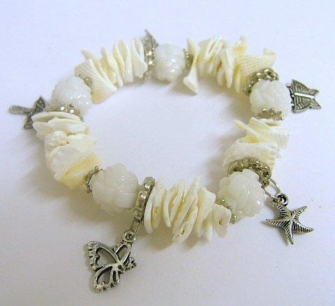 Coral Bracelet Cream Shell with Charms
