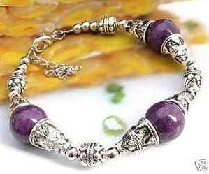 Ladies Tibetan Silver Jade Bracelet Purple