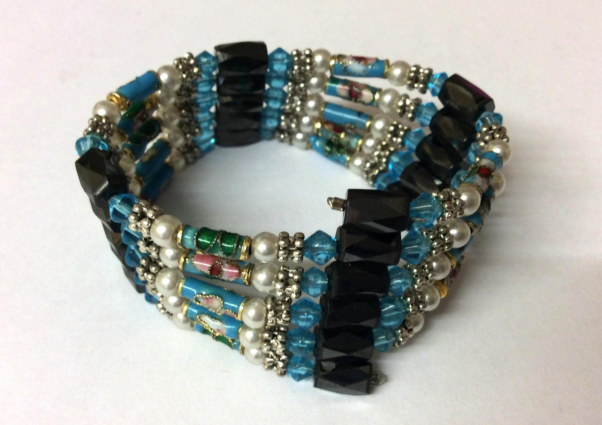Magnetic Hematite Wrap Around Bracelet Light Blue