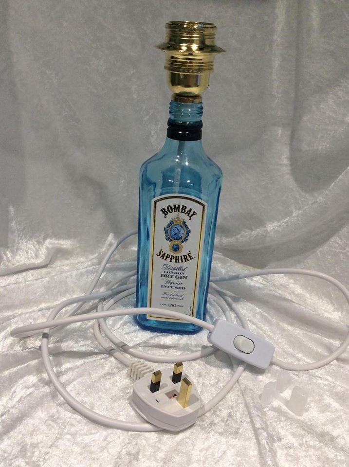 Upcycled Glass Bottle Table Lamp Bombay Sapphire Gin Complete