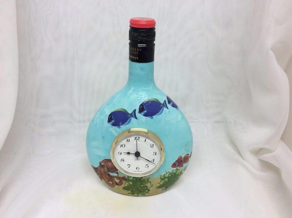 Decorated Wine Bottle Clock Seascape