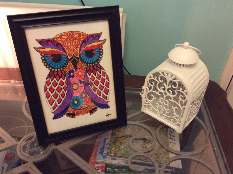 Psychedelic Owl painted with Real Brush Pens and Framed