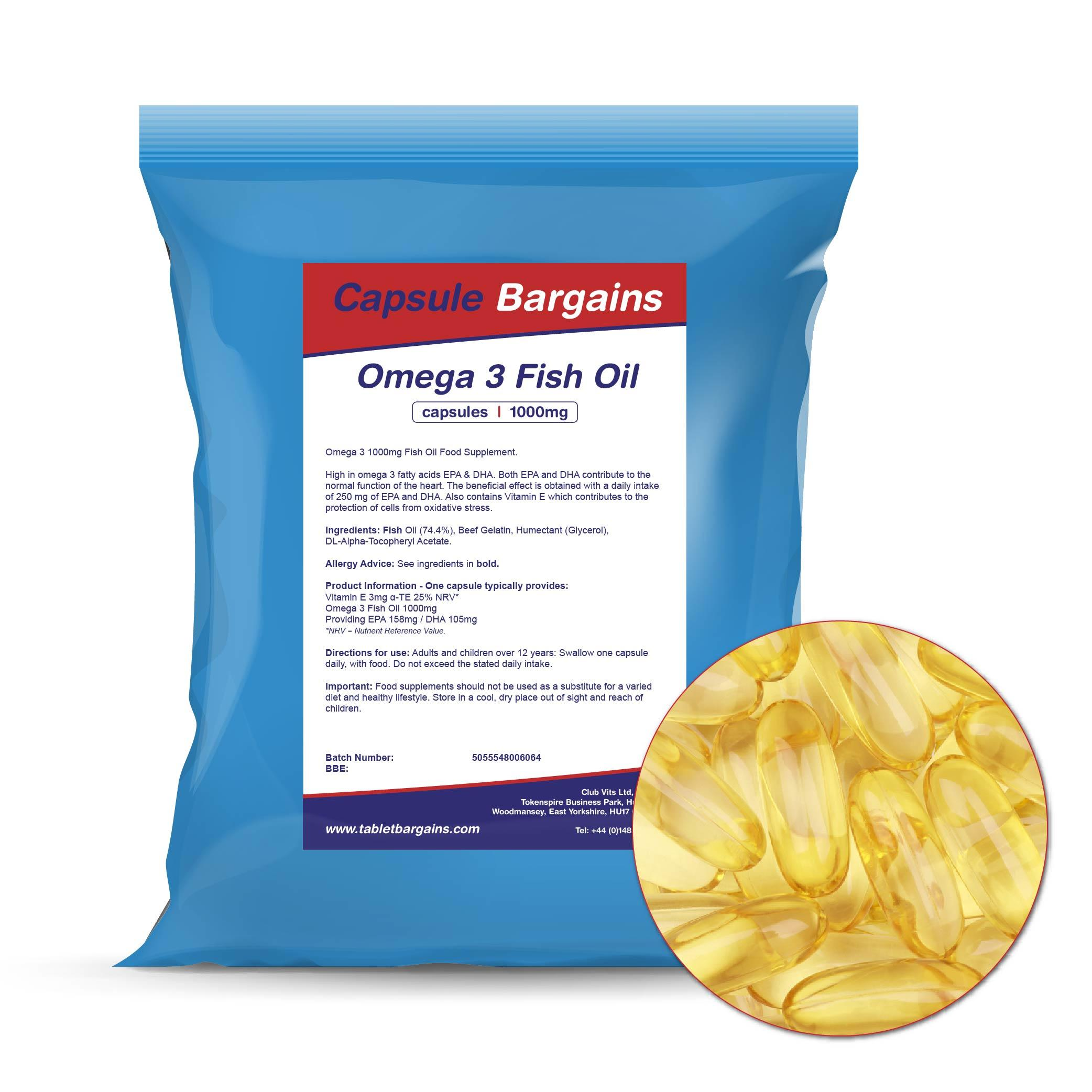 Tablet Bargains Omega -3 Fish Oil 1000mg Capsules