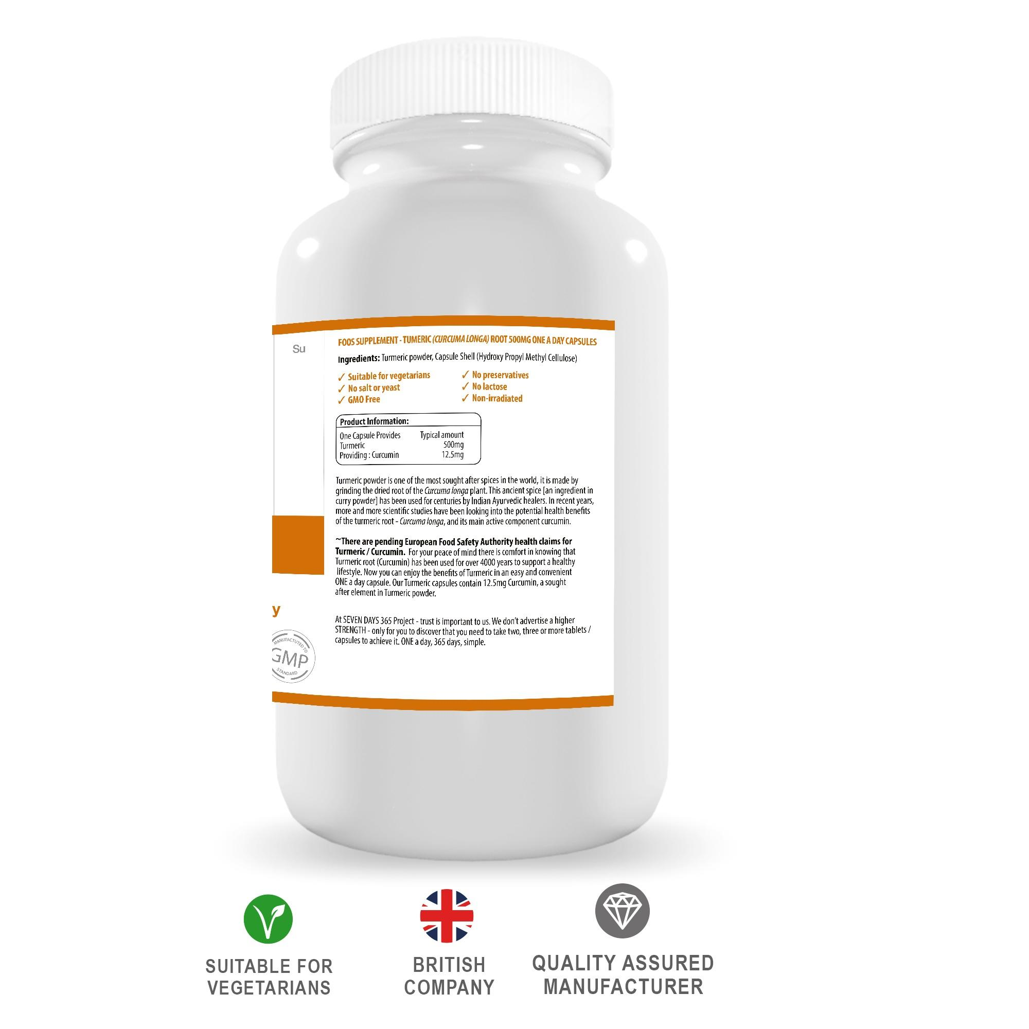 Turmeric Curcumin 500mg - Seven Days Vitamin Company 365 Project