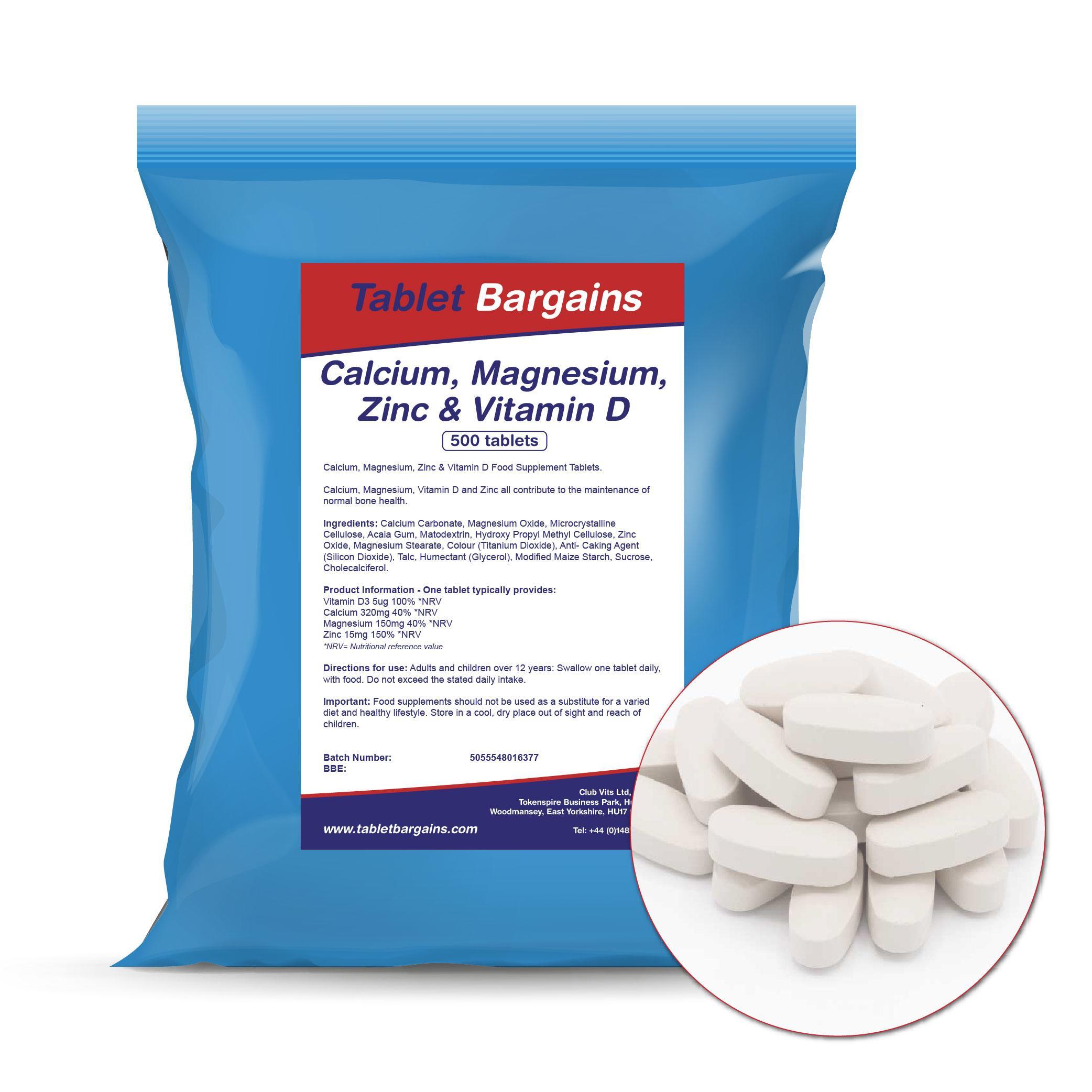 Calcium Magnesium Zinc Vitamin D 500 Tablets Tablet Bargains