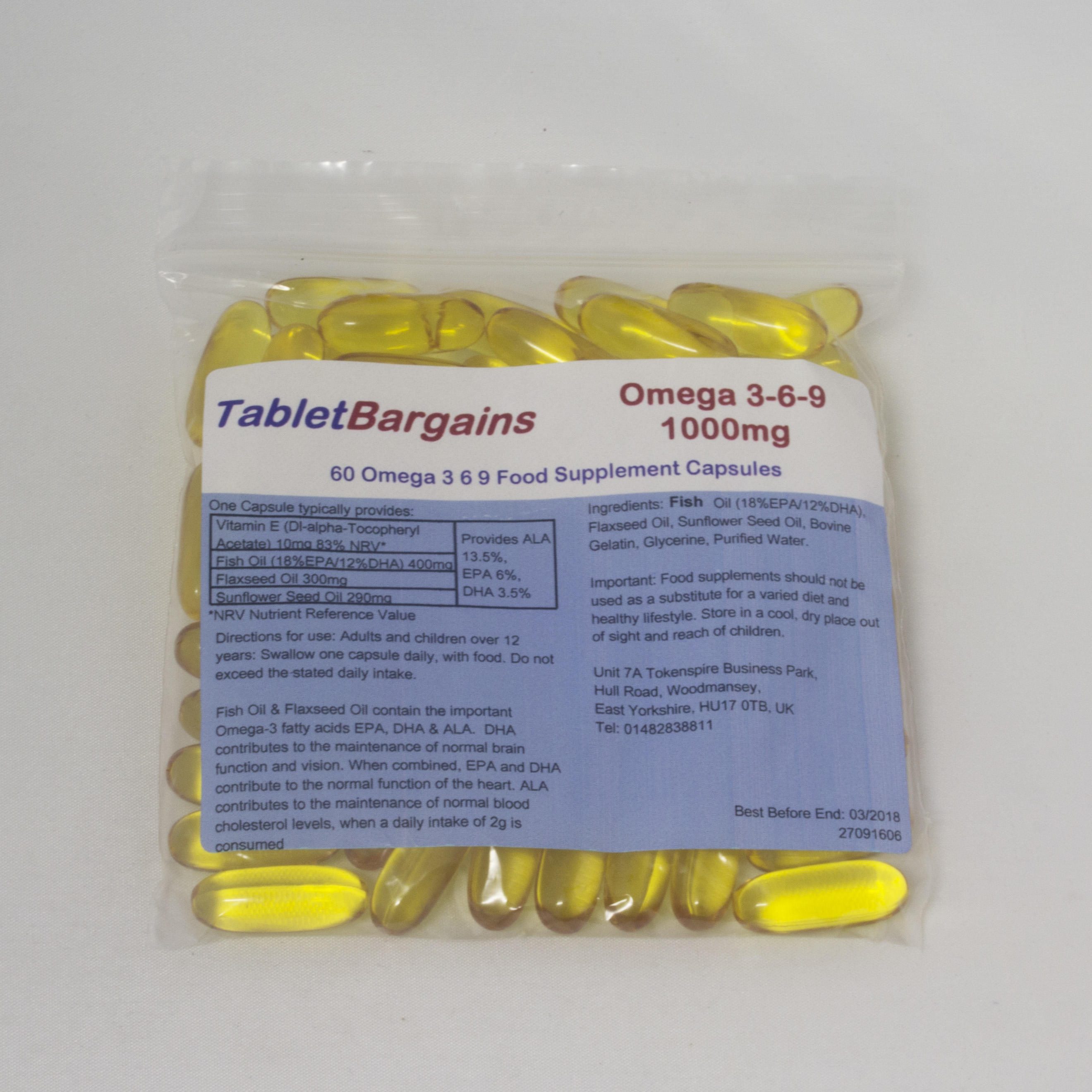 Tablet Bargains Omega 3 6 9 Fish Oil 1000mg Capsules pack of 60