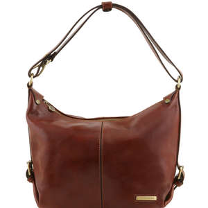 Tuscany Leather Sabrina Hobo-Shoulder Bag In Polished Calf-Skin Leather Choice 5 Colours