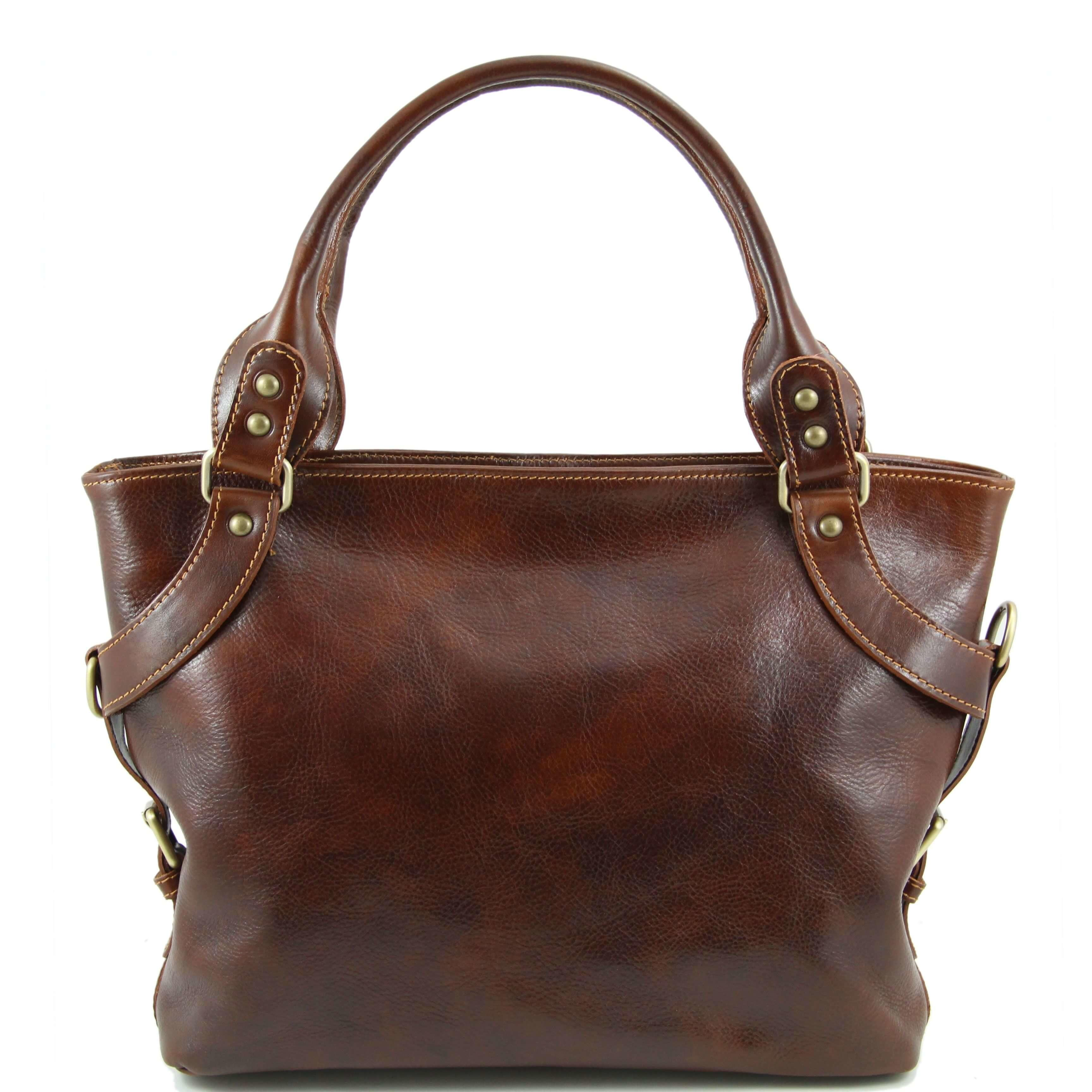 TL140899 Ladies - Womans Ilenia Leather Hand-Shoulder-Tote-Bag & Shoulder Strap - Brown