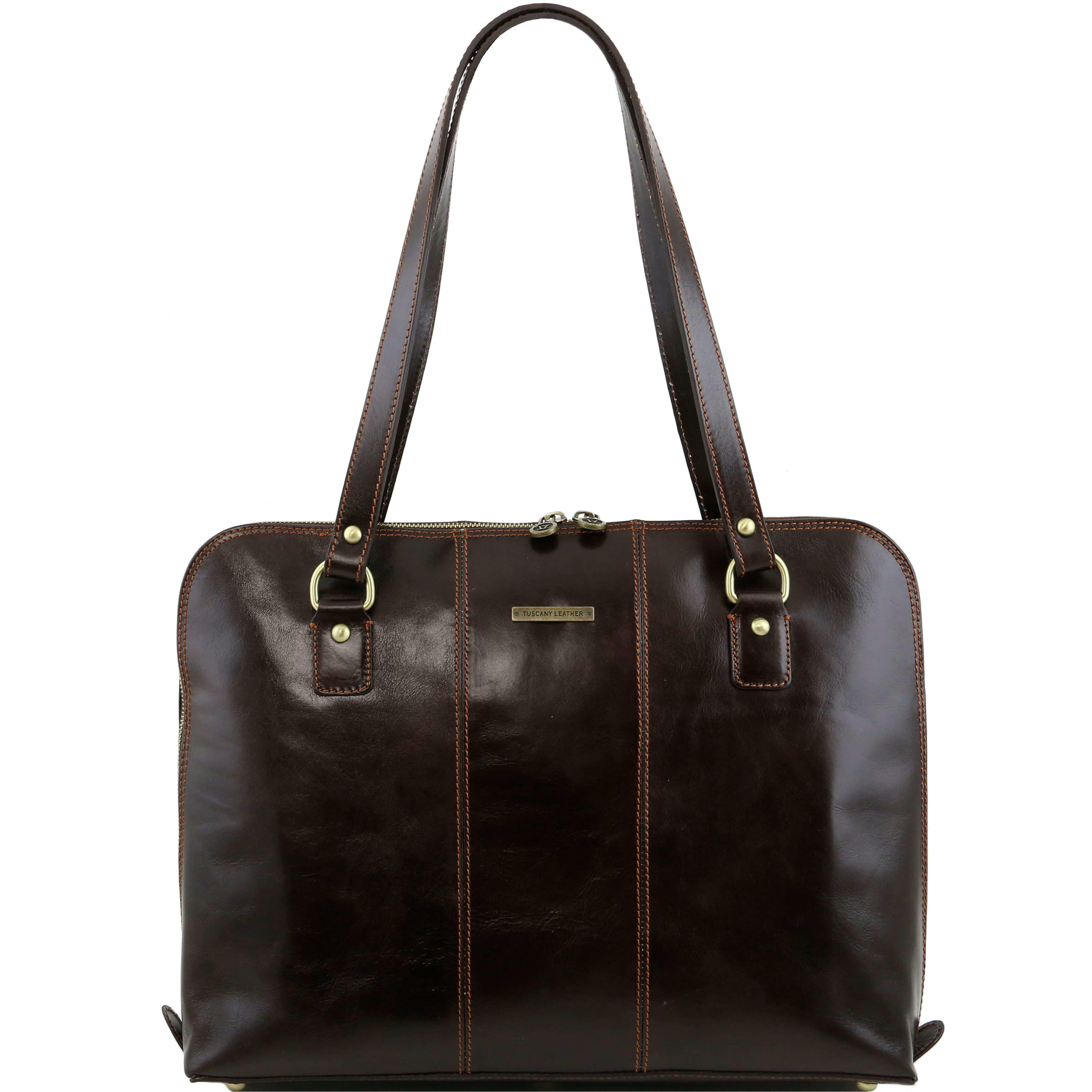 "TL141277 Ravenna Leather 15.6"" Laptop Bag-Case-Briefcase-Shoulder Bag Dark Brown"
