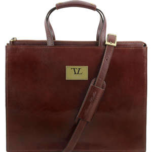 TL141343 Palermo Ladies Leather 3 Compartment Briefcase-Shoulder Bag-Holdall & Shoulder Strap Brown