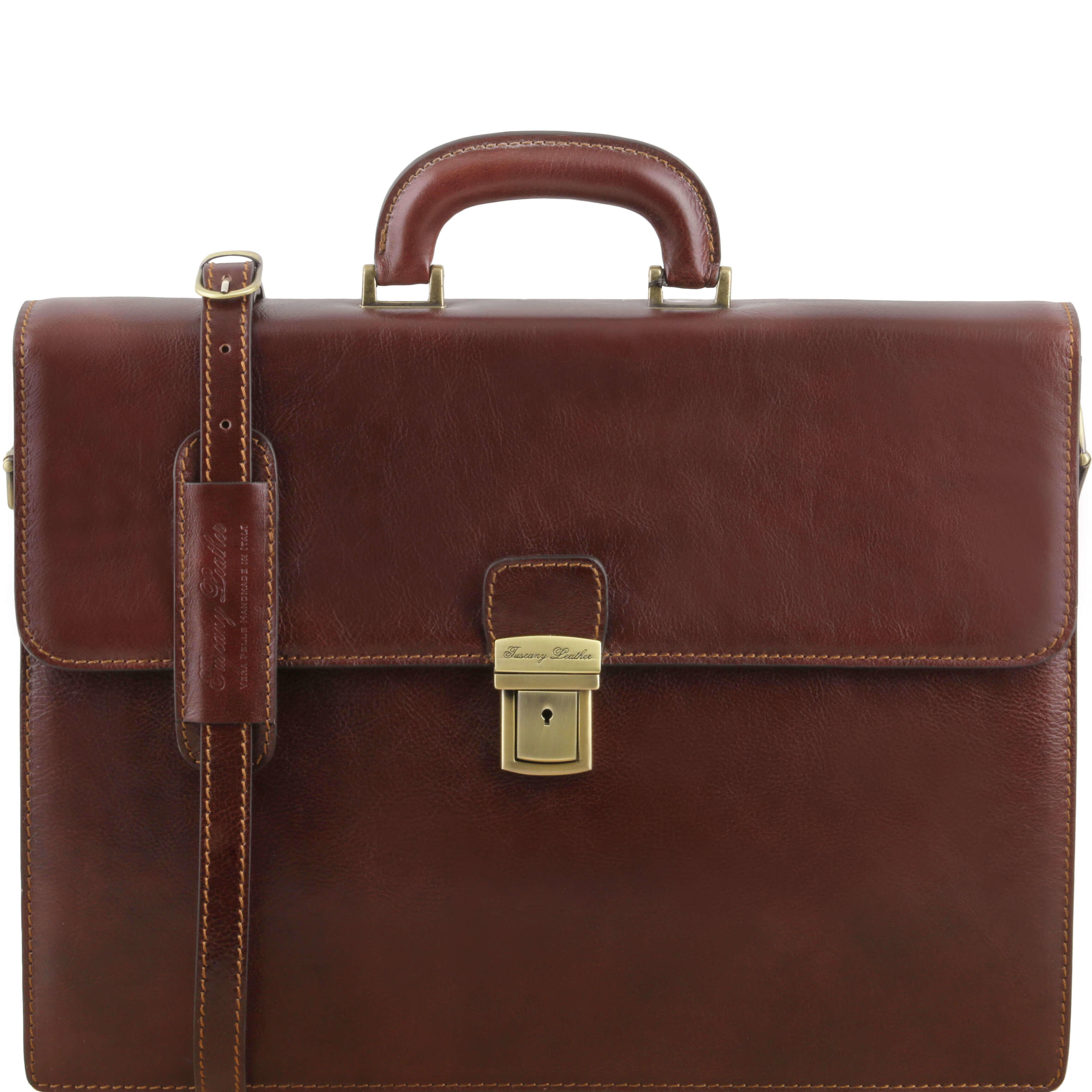 "TL141350 NEW Parma 2 Compartments Leather 15""Laptop-Briefcase-Bag & Shoulder Strap Brown"