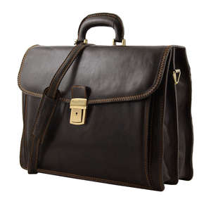 "TL10027 Napoli Leather 2 Compartment Briefcase Holds Laptops Up To 15"" with Shoulder Strap In 3 Colours"