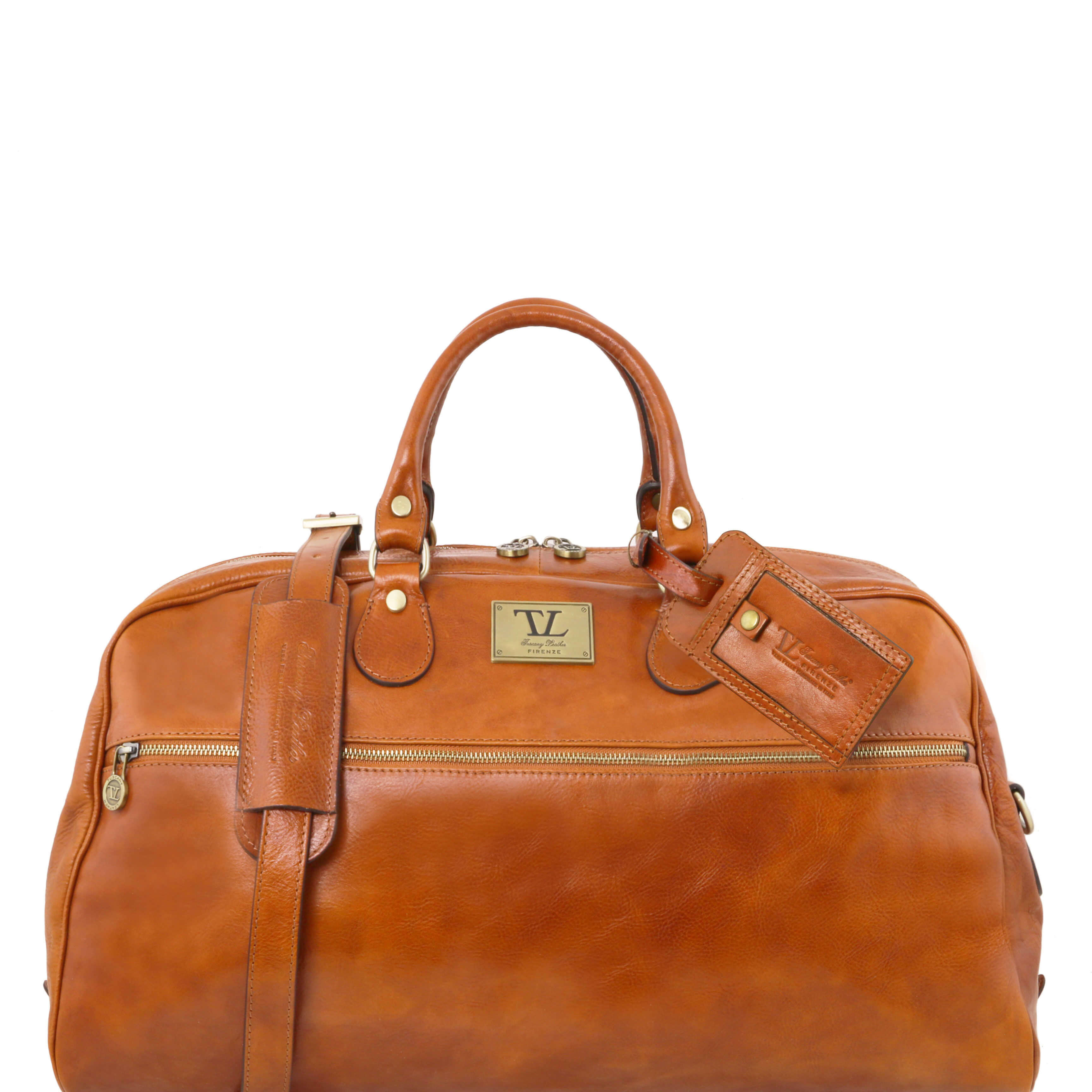 TL141422 XL Leather Voyager Holdall-Travel-Luggage-Duffel Bag-Case & Shoulder Strap In Honey