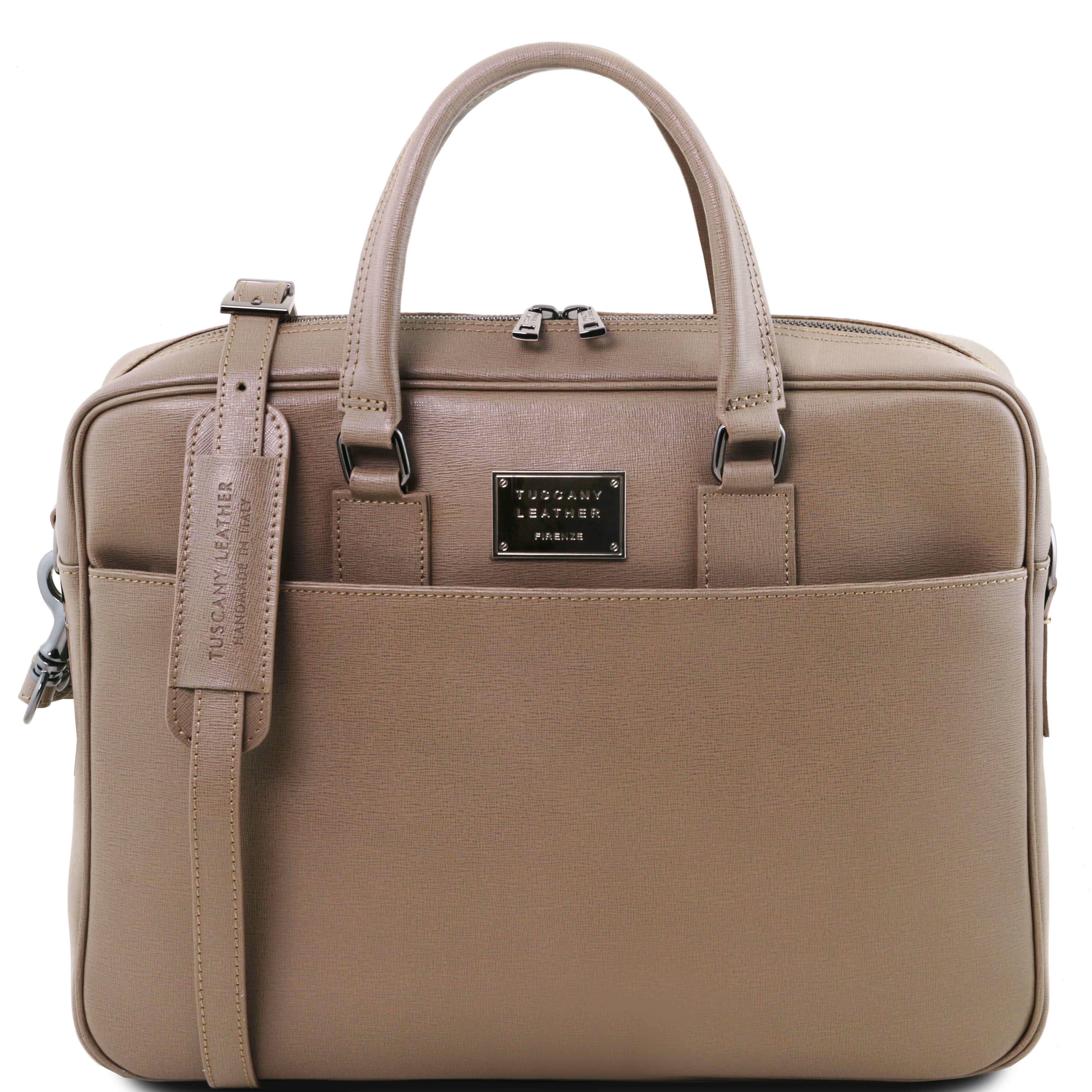 TL141627 Urbino Saffiano leather laptop briefcase with front pocket & Shoulder Strap