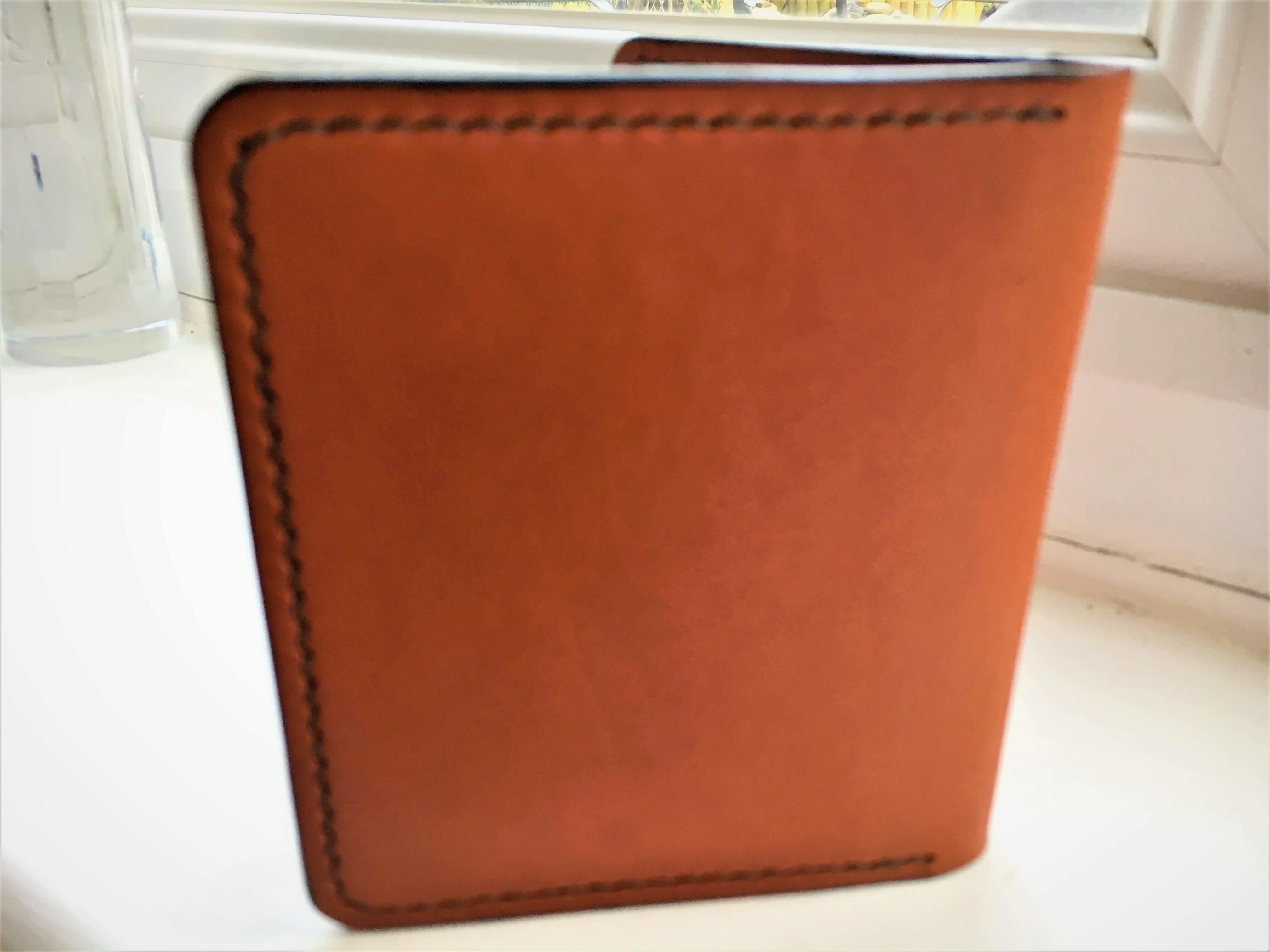 ISAMBARD Clifton Credit Card Wallet, in Cognac Natural Veg Tanned Leather