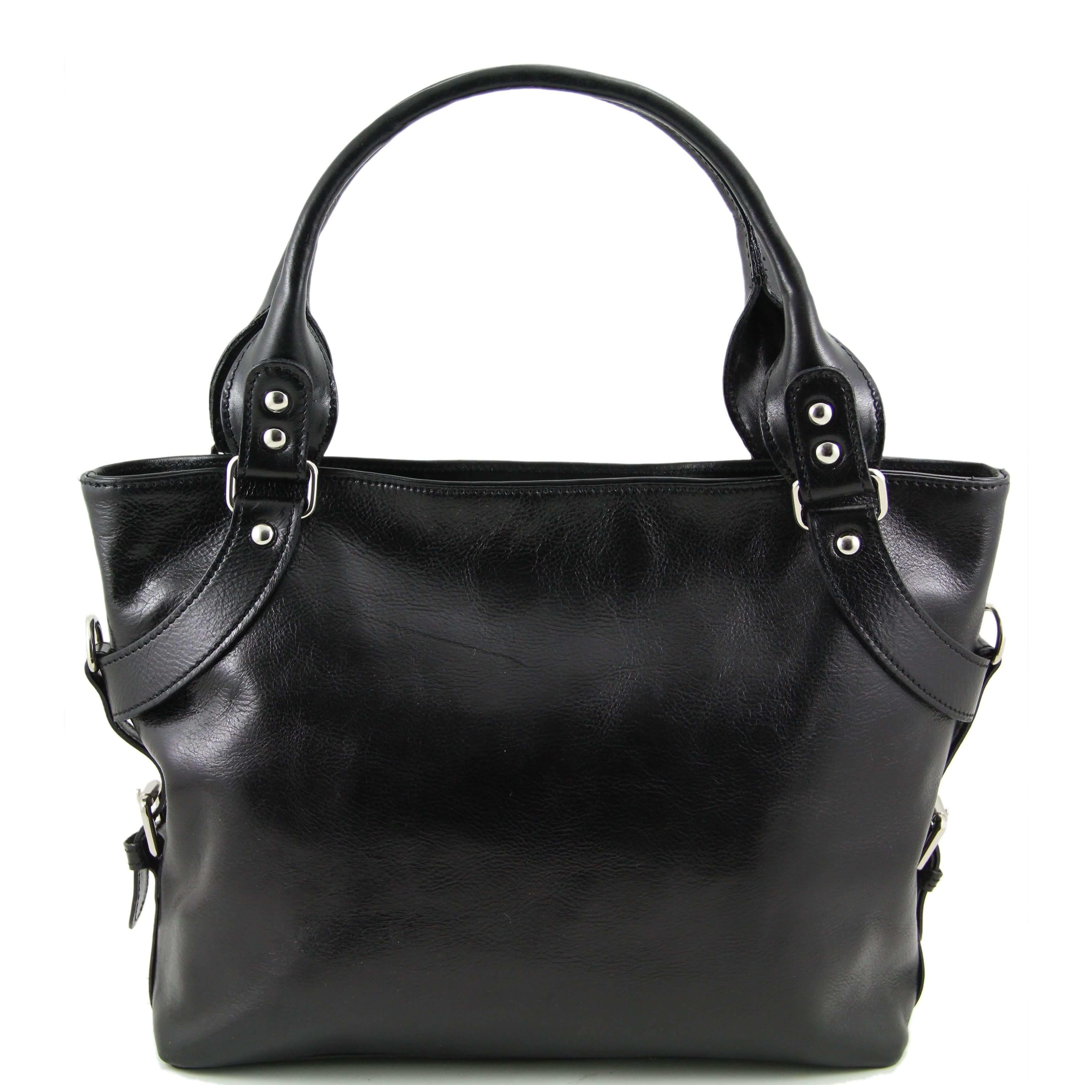 TL140899 Ladies - Womans Ilenia Leather Hand-Shoulder-Tote-Bag & Shoulder Strap - Black
