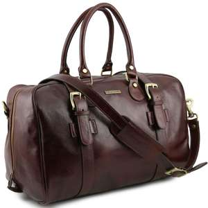 TL141249 Leather Voyager Holdall-Travel-Luggage-Duffel Bag-Case