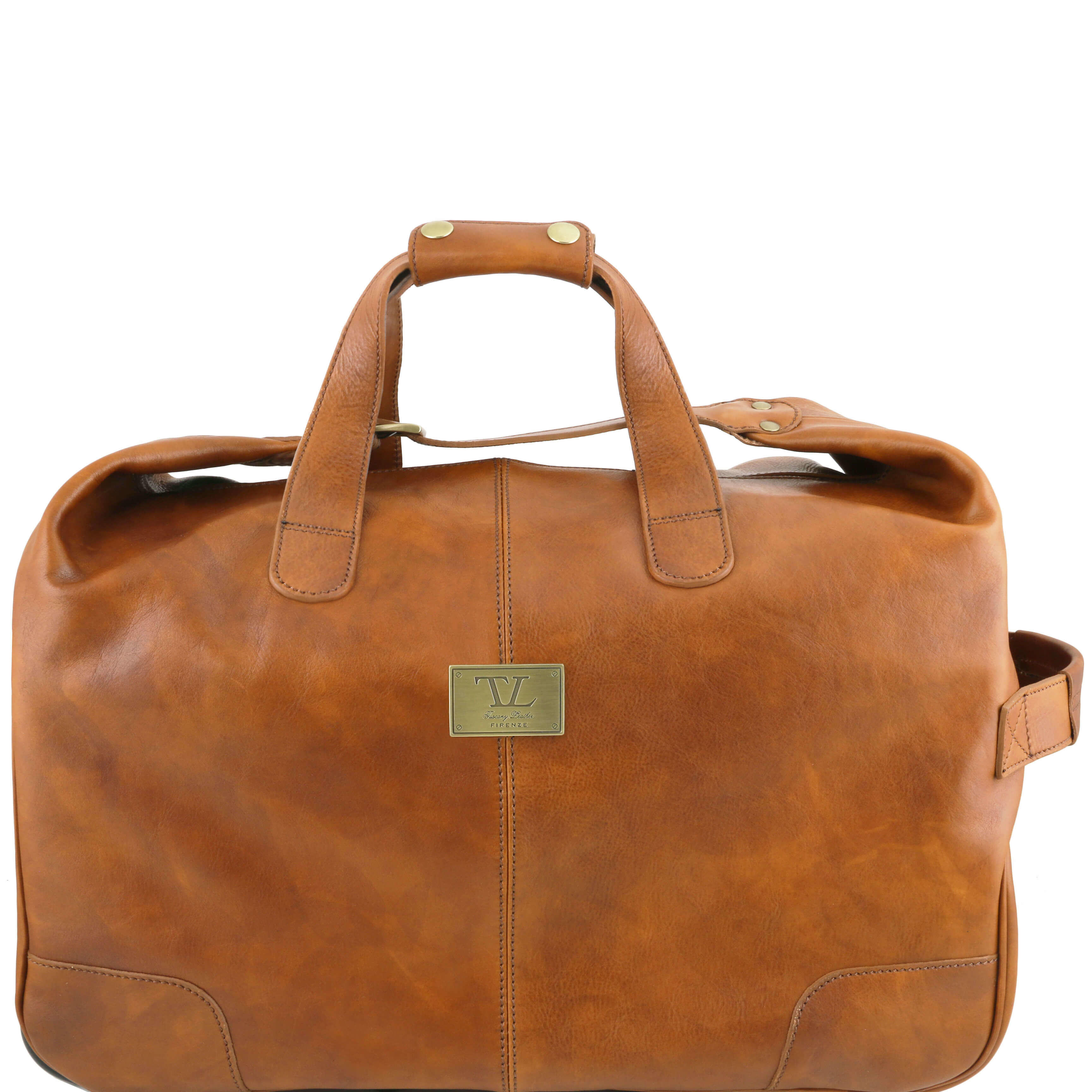 Tuscany Leather Barbados Trolley - Wheeled-Lugguage-Travel-Bag-Holdall-Case - Natural Colour