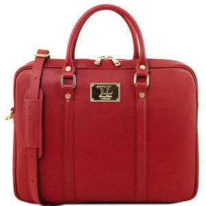 TL141626 Prato Exclusive Saffiano Leather Laptop Case & Shoulder Strap