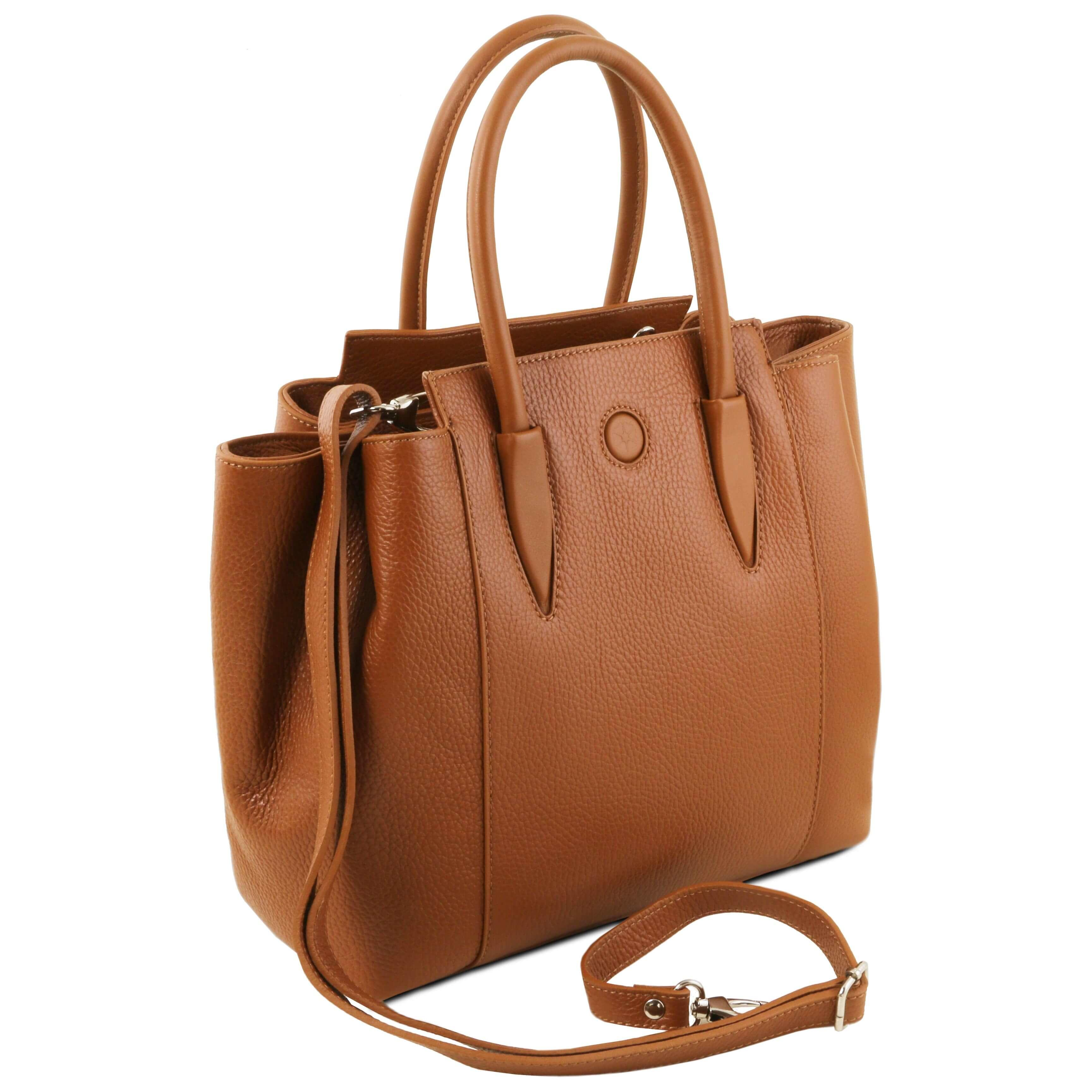 TL141727 Tuscany Leather Tulipan Handbag With Detachable Shoulder Strap