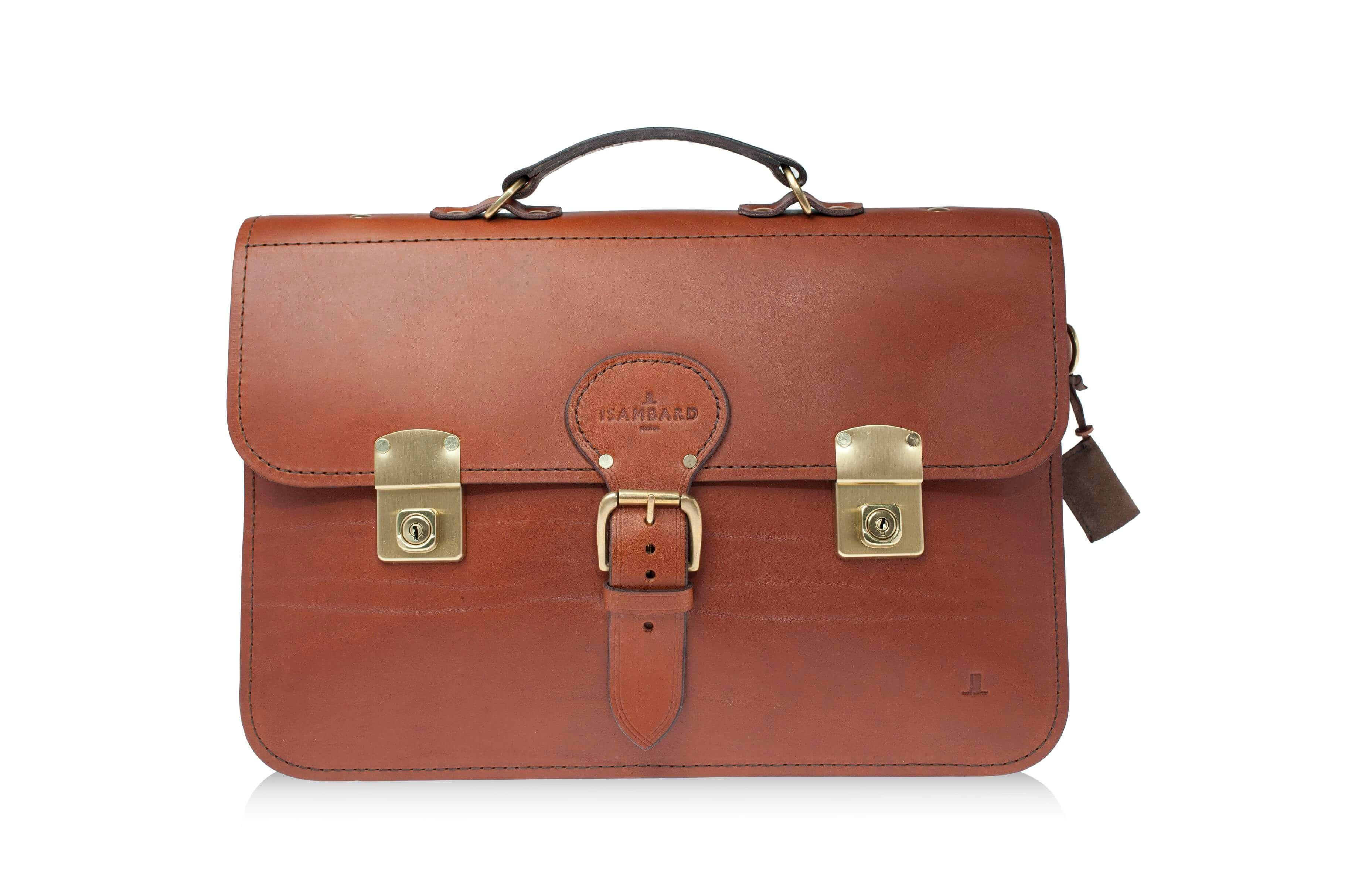 ISAMBARD Clifton Briefcase In Finest English Natural Veg Tanned Cognac Leather