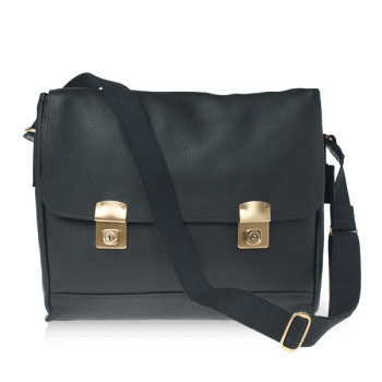 ISAMBARD Clifton Padded Laptop Satchel In Black Soft Natural Leather