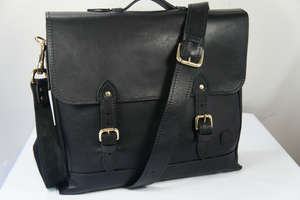 ISAMBARD Dundry Satchel In Soft Natural Veg Tanned Leather - Bla