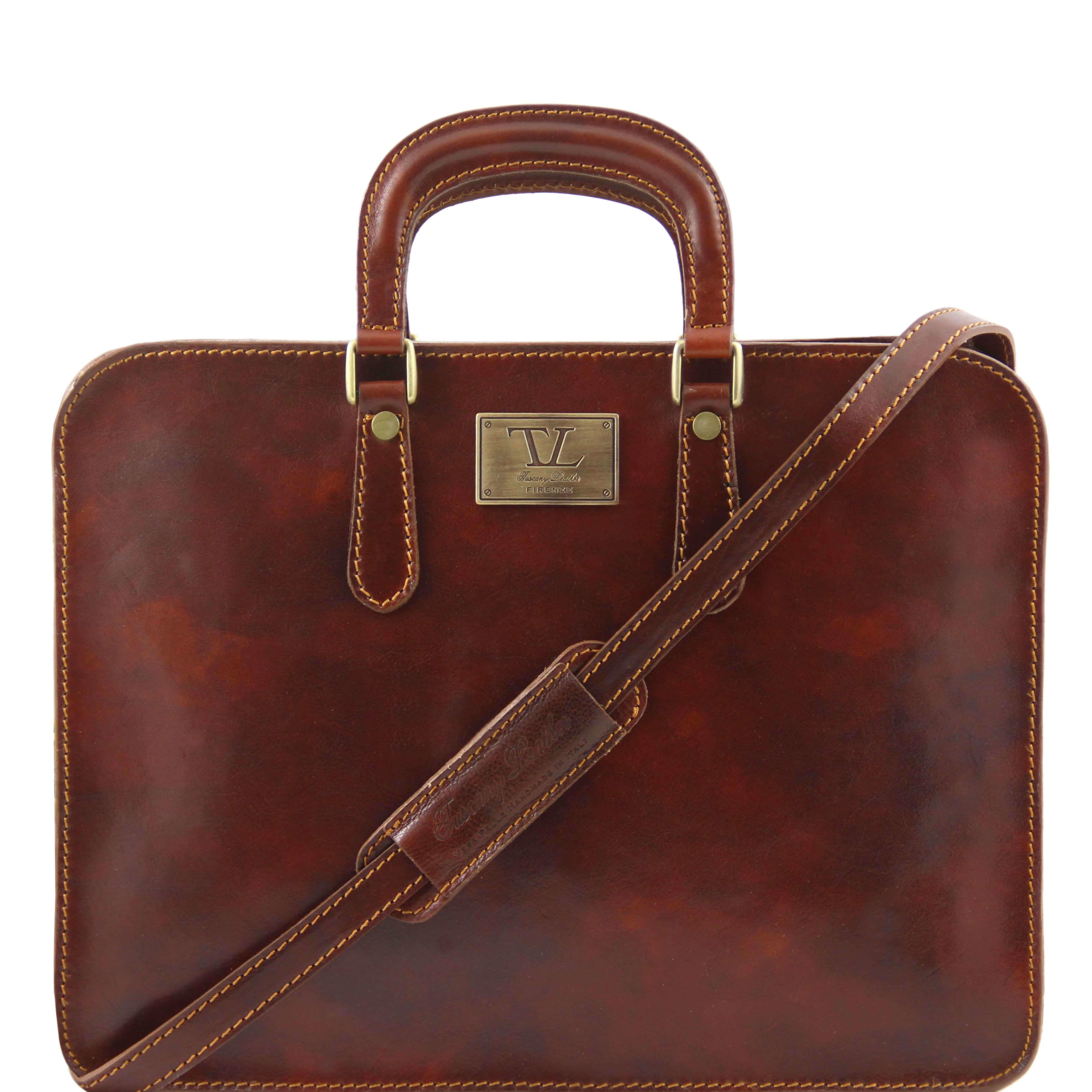 TL140961 Alba Ladies Leather 1 Compartment Briefcase-Folio-Shoulder Bag-Holdall Brown