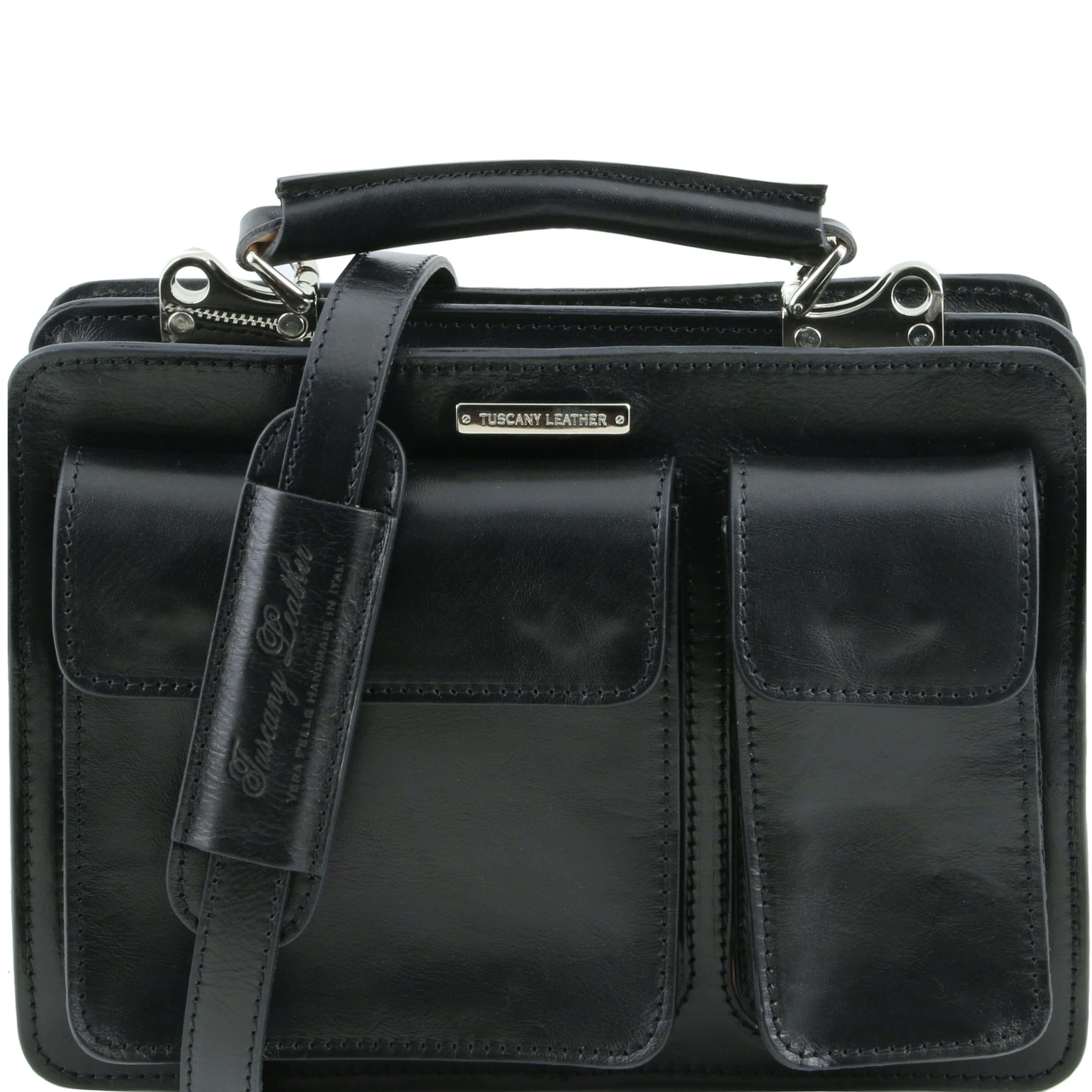 TL141270 Tania Ladies Leather 2 Compartment Small Briefcase-Shoulder Bag-Holdall & Shoulder Strap Black