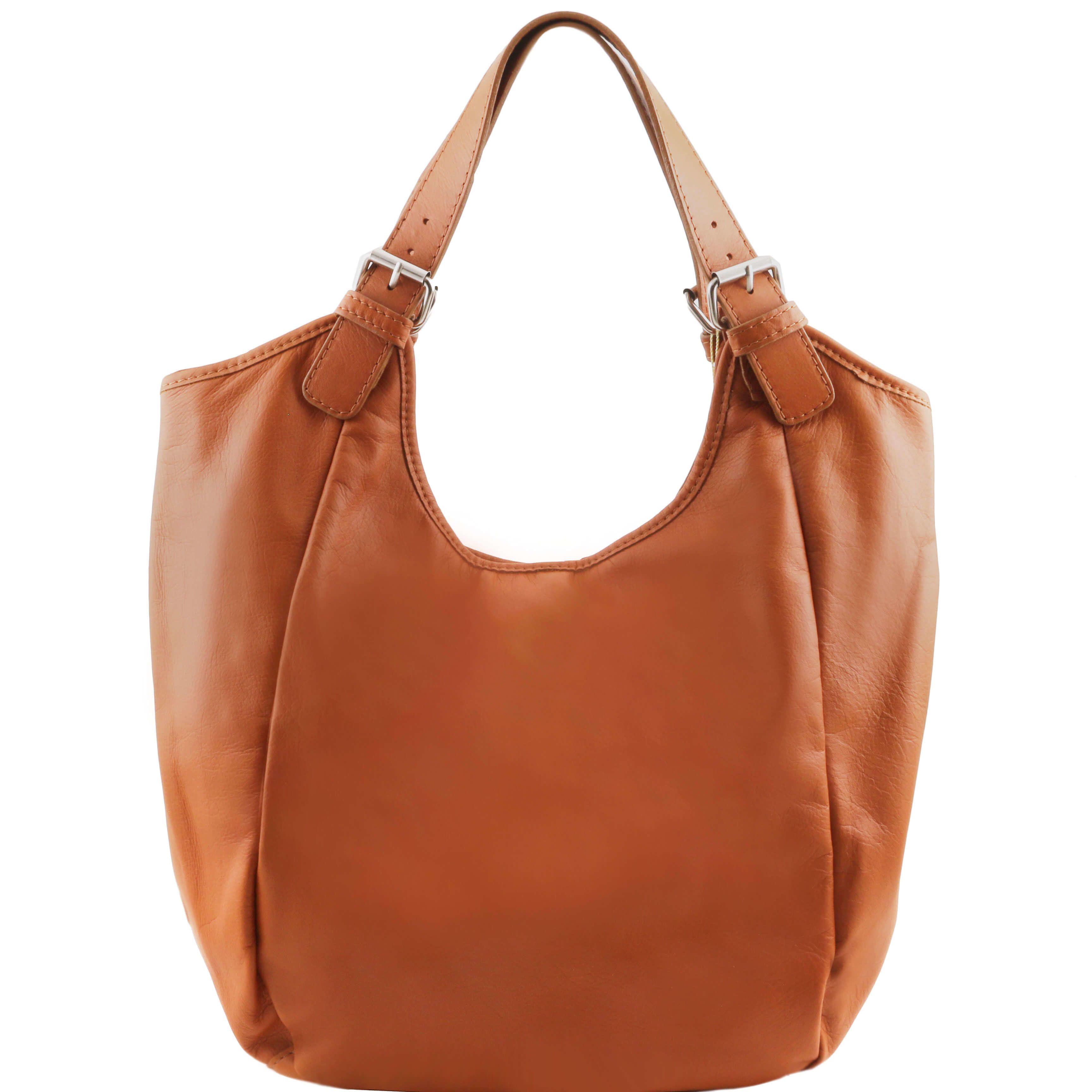 TL141357 Gina Classic Leather-Hand-Shoulder-Tote-Hobo-Bag Cognac