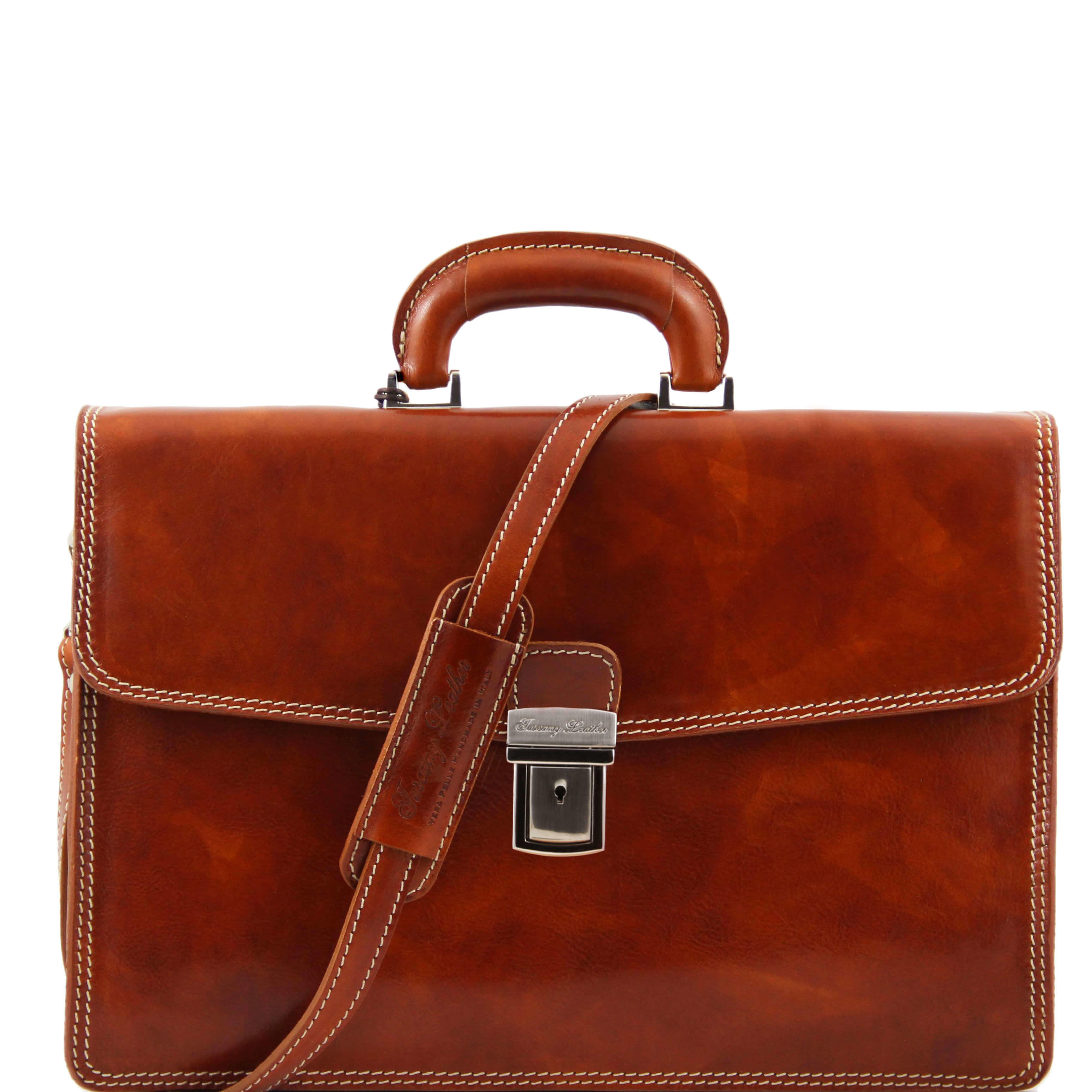 "TL10050 Amalfi One Compartment Leather 15"" Laptop-Briefcase-Bag"