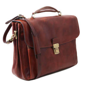 "Tuscany Leather Alessandria 15.6"" Laptop Case-Bag-Messenger-Satchel+Should Strap"