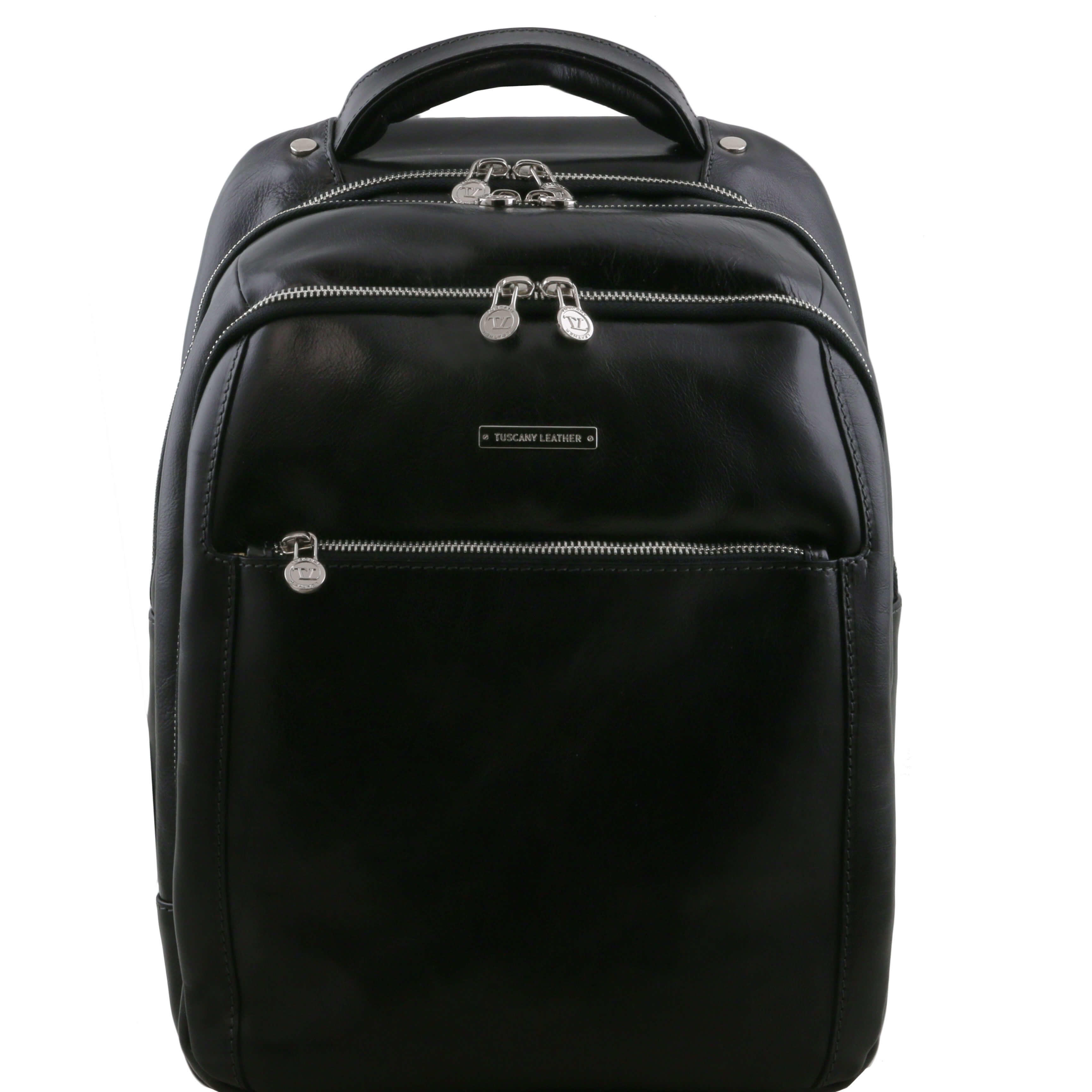 TL141402 Phuket Leather Backpack-Rucksack-Holdall-Bag 3 Compartments in Black