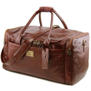 TL141281 Voyager Leather Holdall-Travel-Luggage-Duffel Bag-Case