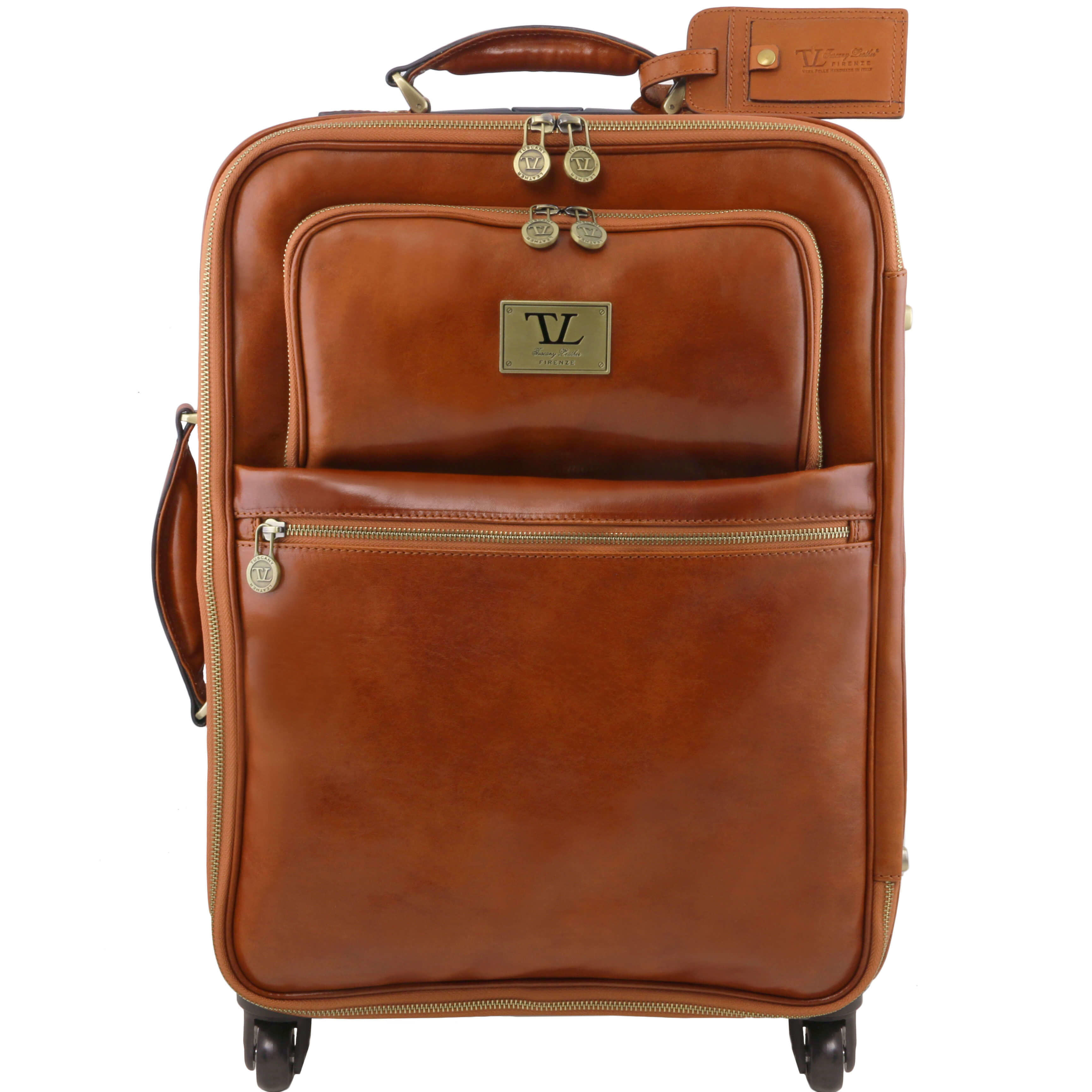 TL141390 Voyager 4 Wheeled Travel-Luggage Bag-Case in Polished Calf-Skin Leather In Honey