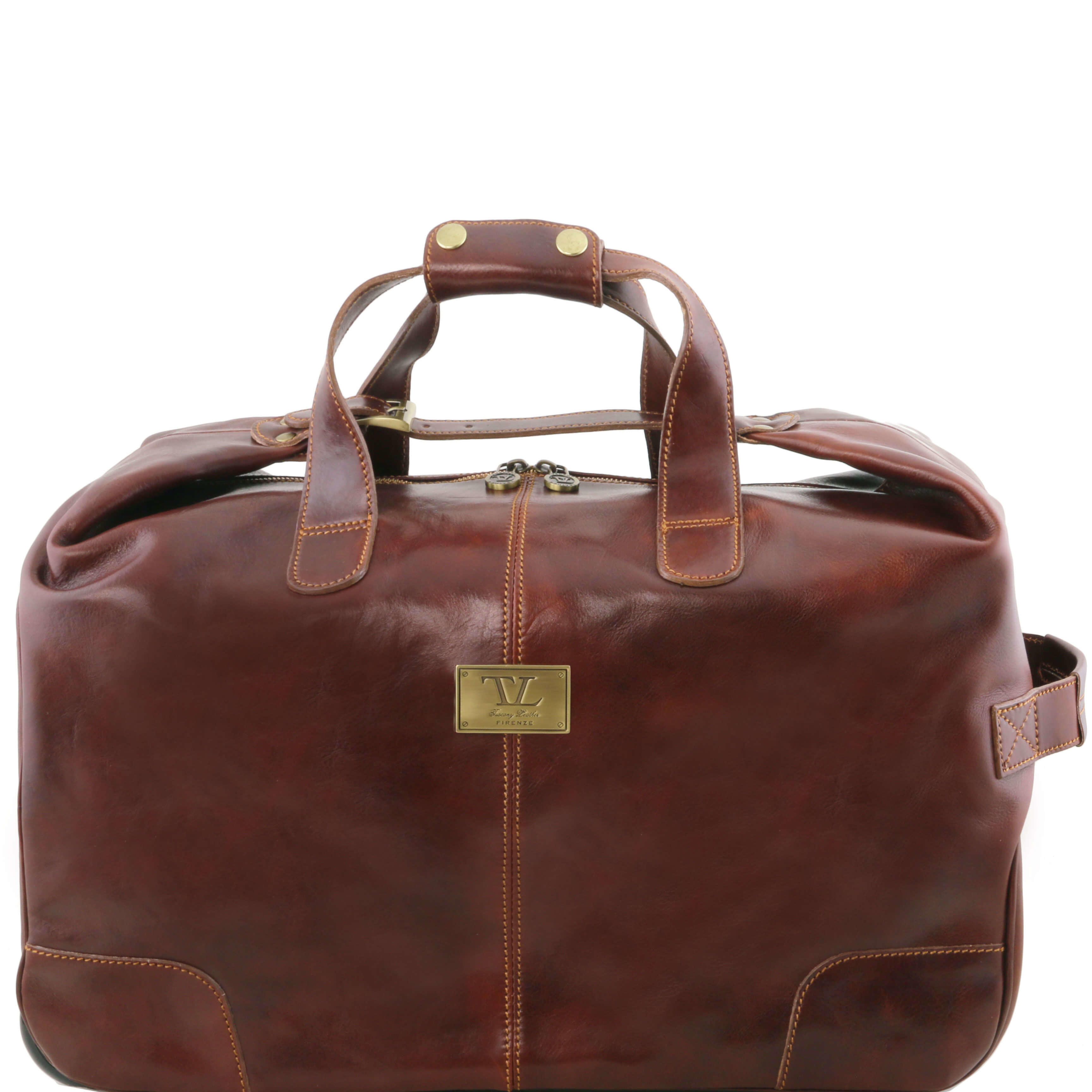 Tuscany Leather Barbados Trolley - Wheeled-Lugguage-Travel-Bag-Holdall-Case - Brown