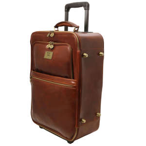 TL141389 Voyager 2 Wheeled Travel-Luggage Bag-Case By Tuscany Leather