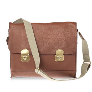 ISAMBARD Clifton Padded Laptop Satchel In Tan Soft Natural Leather
