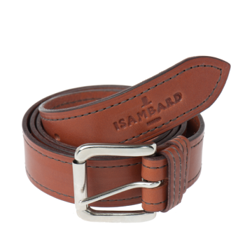 ISAMBARD Clifton 1 Pin Leather Belt in Cognac Natural Veg Tan Le