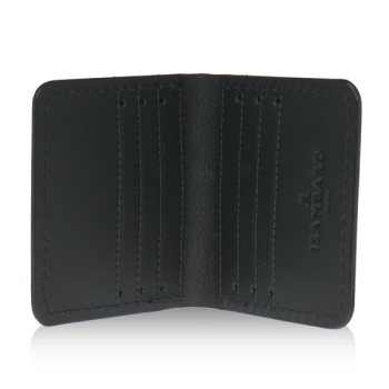 ISAMBARD Clifton Credit Card Wallet, in Black Natural Veg Tanned Leather